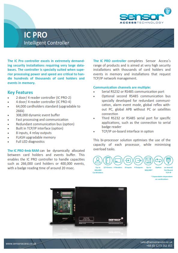 IC-PRO - Intelligent Controller – Sensor Access Technology
